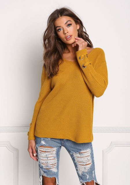 Mustard Grommet Sleeve Thick Knit Sweater Top