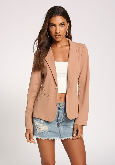 Mocha Single Breasted Blazer