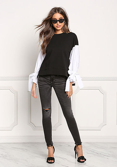 Black Two Tone Tied Sleeve Blouse
