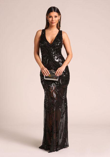 Black Sequin Slit Mermaid Maxi Gown
