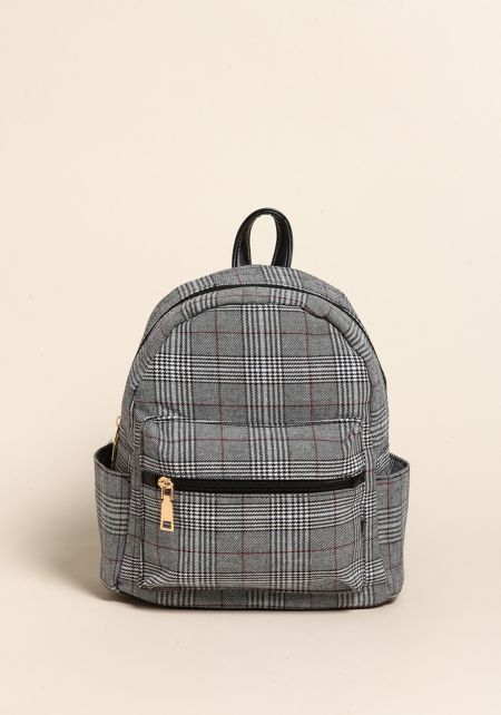 Black Plaid Leatherette Mini Backpack