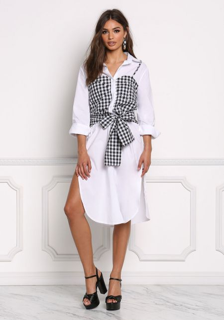 White and Black Gingham Layered Shirt Dress