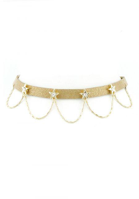 Gold Draped Rhinestone Star Choker