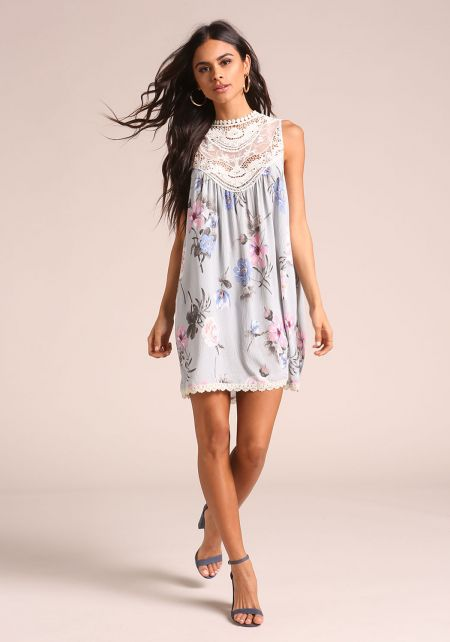 Dusty Blue Floral Crepe Embroidered Shift Dress