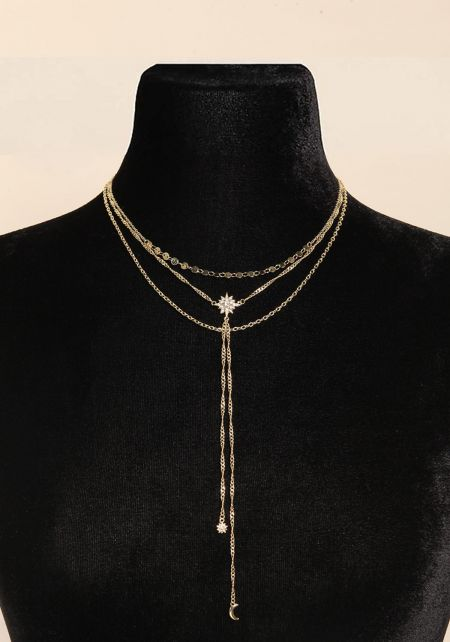 Gold Star Pendant Drop Chain Necklace