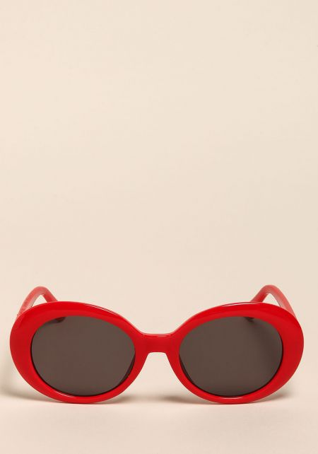 Red Oval Thick Frame Sunglasses
