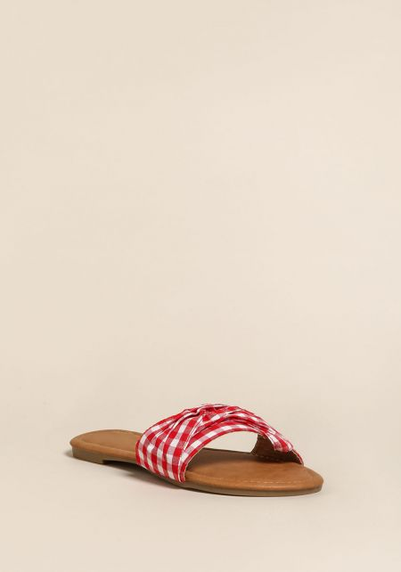 Red Gingham Slip On Sandals