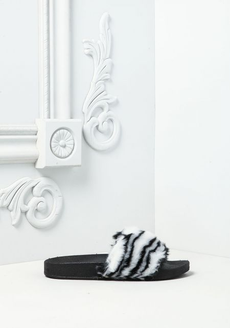 Zebra Faux Fur Slide Sandals