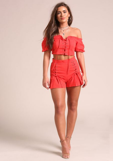 Red Front Lace Up Flared Shorts