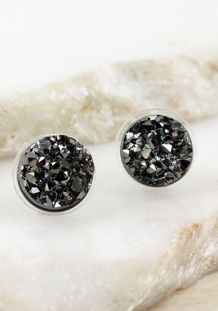 Black Crushed Stone Earrings