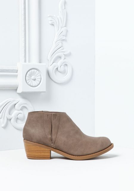 Grey Leatherette Ankle Booties