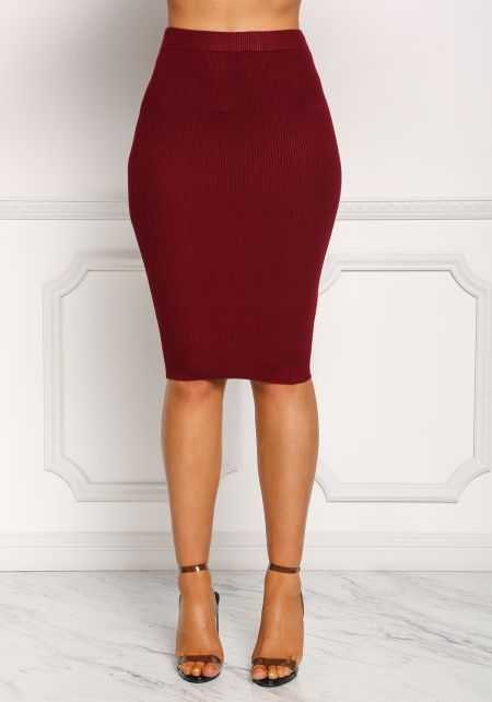 Burgundy Ribbed Knit High Rise Skirt