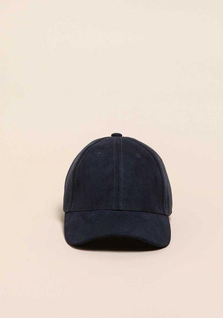 Navy Suedette Baseball Cap