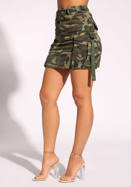 Camouflage Cargo Pocket Skirt