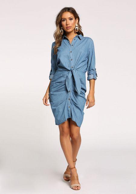 Medium Denim Tie Front Ruched Dress