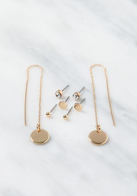 Gold Dainty Stud Assorted Earrings