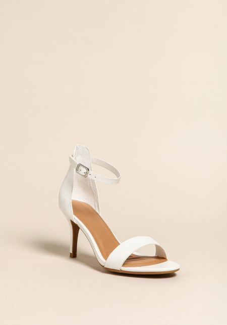 White Ankle Strap Kitten Heels