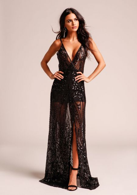Black Sequin Plunge Slit Maxi Gown