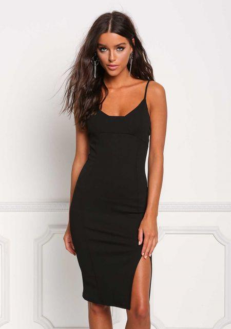 Black Side Slit Sleek Bodycon Dress