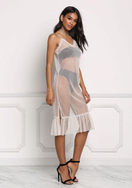 Nude Tulle Ruffle Slip Dress
