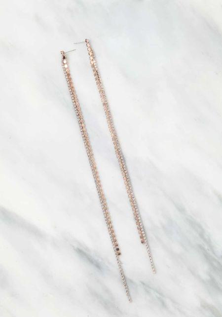 Rose Gold Rhinestone Stud Long Earrings