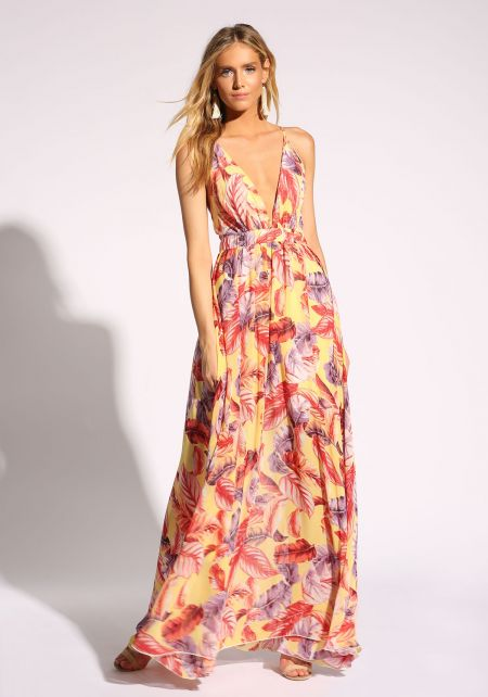 Yellow Plunge Cross Strap Leaf Maxi Dress
