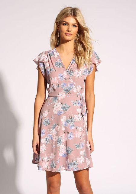 Mauve Floral Waist Tie Wrap Dress