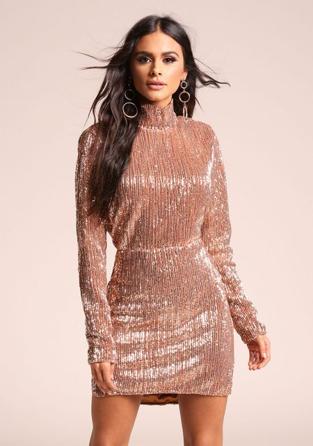 Rose Gold Sequin Back Cut Out Bodycon Dress