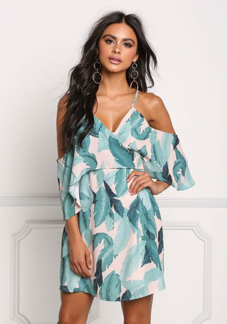 Mint Cold Shoulder Layered Tropical Leaf Dress