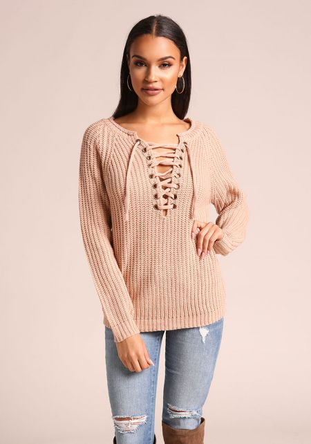 Blush Lace Up Thick Knit Sweater Top