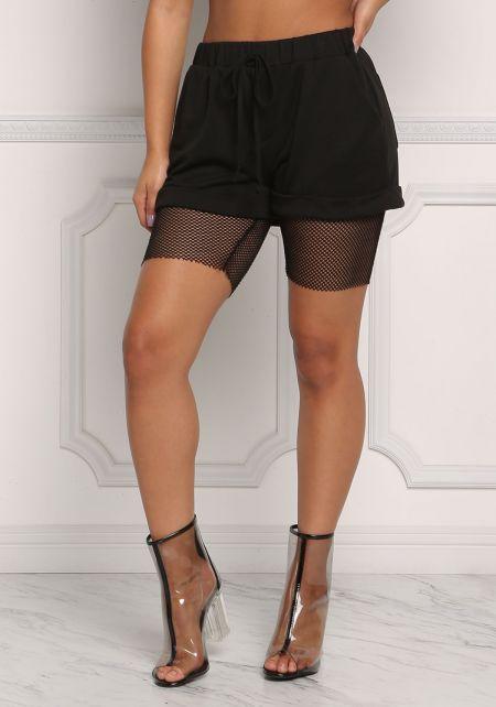 Black Mesh Net Drawstring Shorts