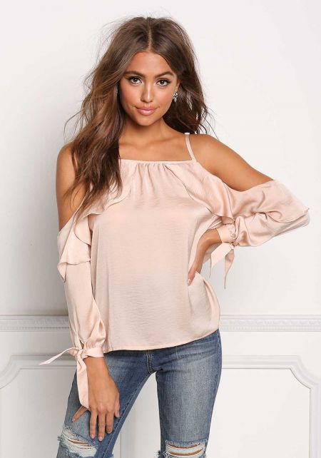 Blush Silky Layered Cold Shoulder Blouse