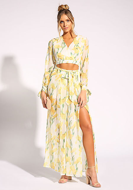 Yellow Rose Chiffon Slit Palazzo Pants