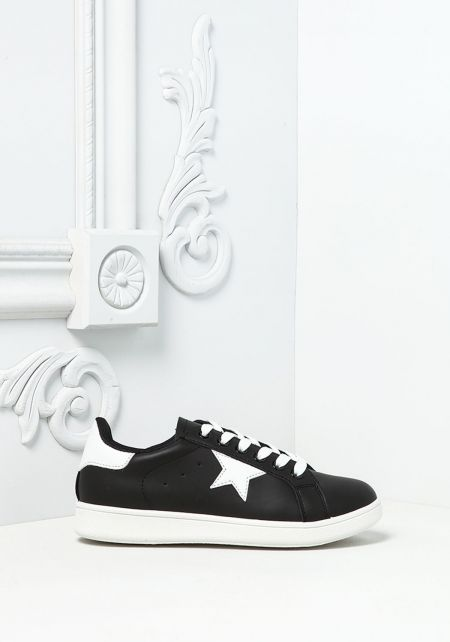 Black Leatherette Star Sneakers