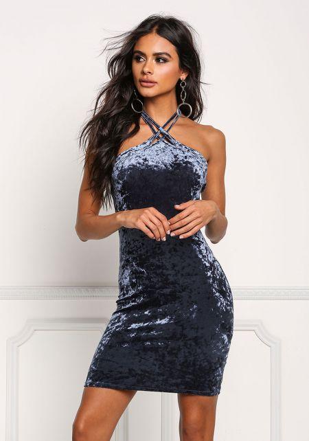 Blue Crushed Velvet Double Strap Dress