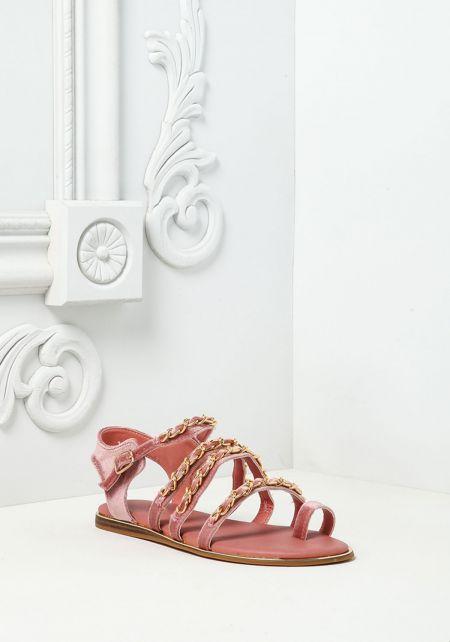 Mauve Velvet Chain Sandals