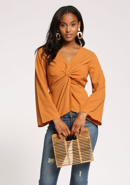 Camel Twisted Wide Sleeve Blouse