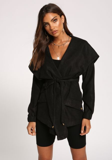Black Fold Over Hooded Waist Tie Jacket
