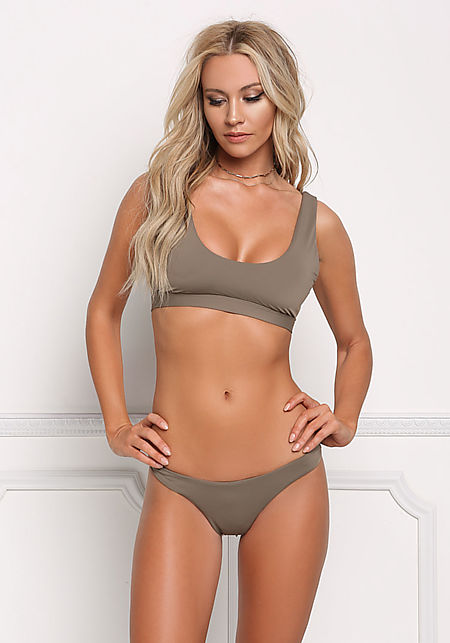 Taupe Low Rise Swimsuit Bikini Bottoms