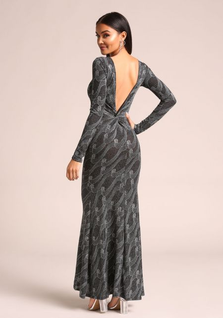 Silver Sparkled Low Back Mermaid Maxi Gown