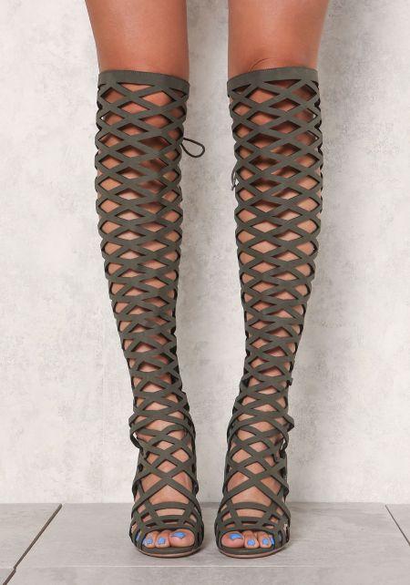 Olive Suedette Laser Cut Knee High Heels