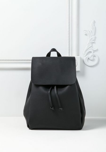 Black Drawstring Flap Large Backpack