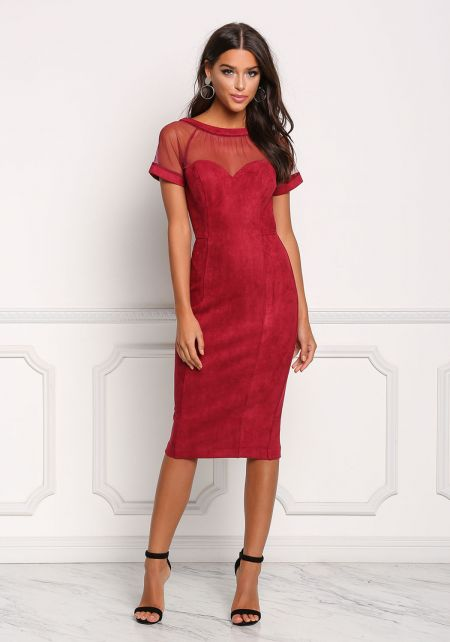 Burgundy Suedette Tulle Sweetheart Bodycon Dress