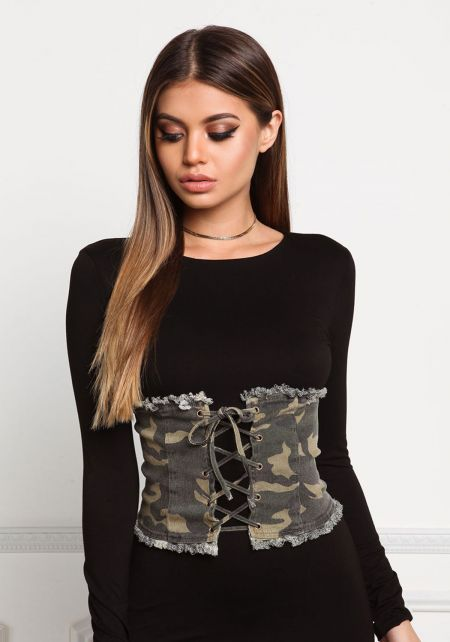 Camouflage Frayed Lace Up Corset Belt