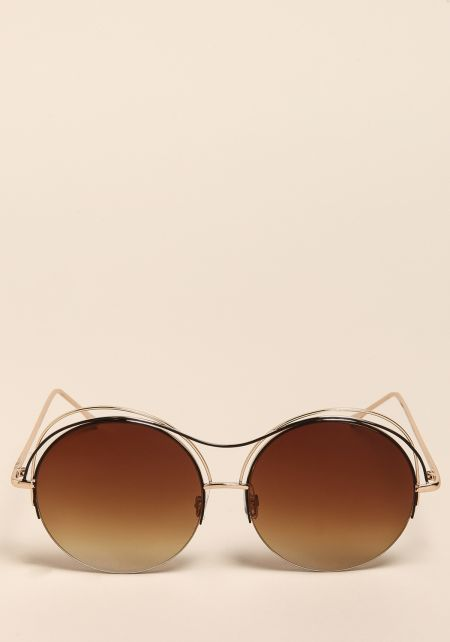 Gold Round Double Bar Sunglasses