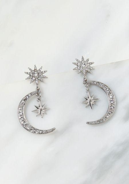 Silver Moon & Star Rhinestone Pendant Earrings