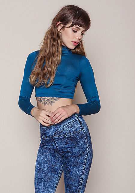 Teal High Neck Long Sleeve Crop Top