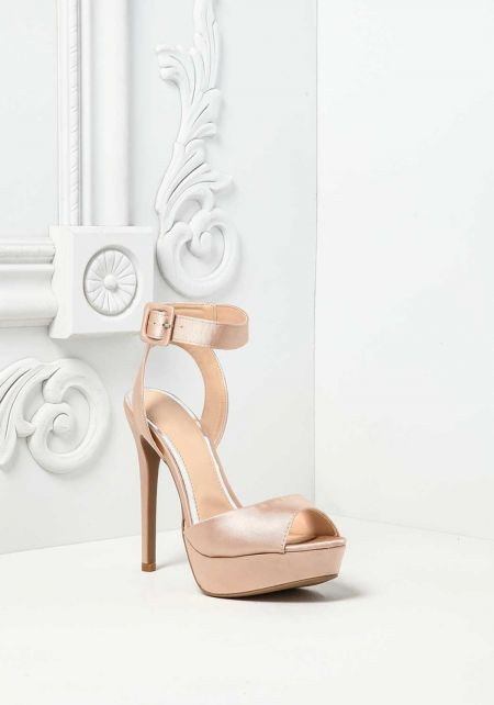 Blush Satin Thick Ankle Strap Heels