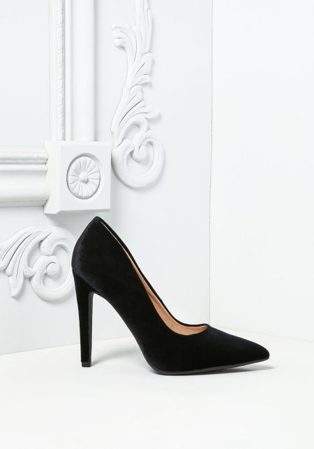 Black Velvet Pointed Toe Heels