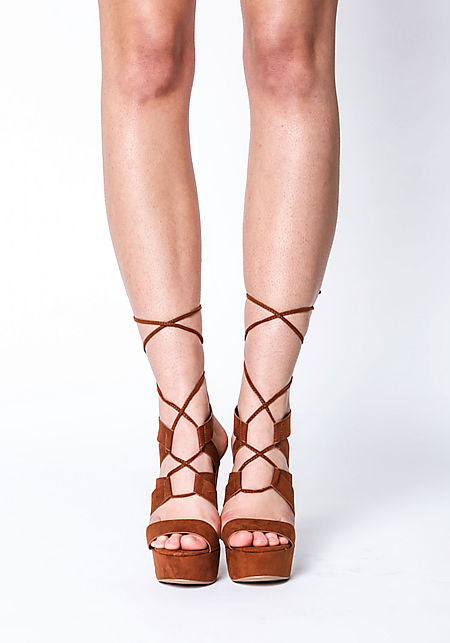 Rust Platform Laced Up Heels